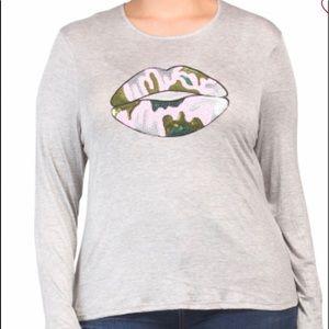 NIB Melissa Masse Knit Top W Sequins Lips Size 3X